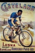 Vintage French cycling poster - Lesna wins in Cleveland